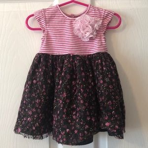 Striped Floral Lace Toddler Girls Dress